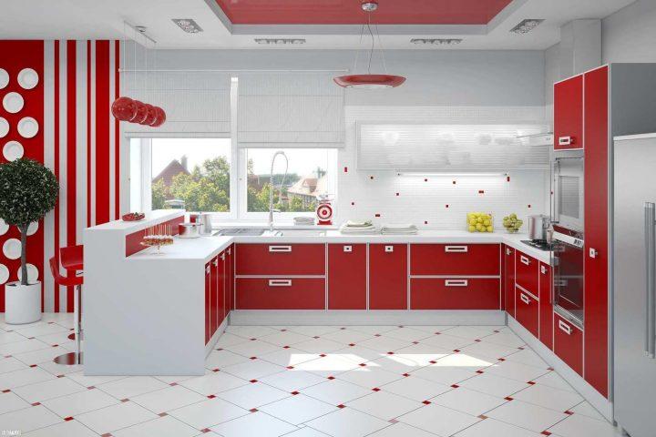 Schwarze und rote Küche