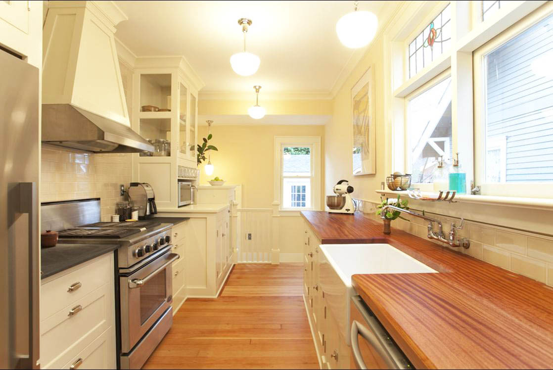 for Galley kitchen open to dining room