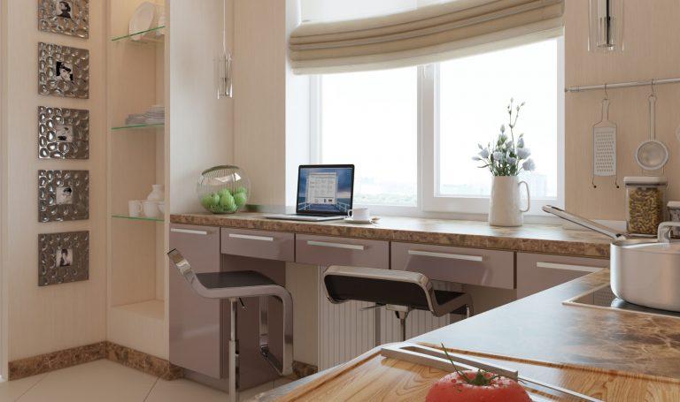 Кухни с дизайном у подоконника