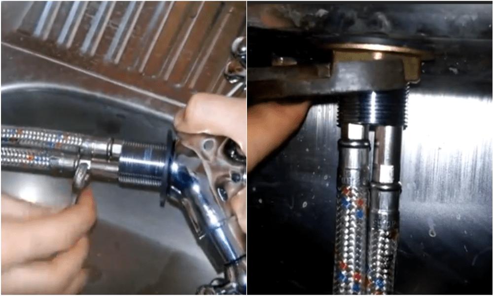 Сборка смесителя для раковины